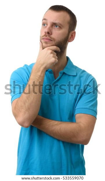 annoyed man looking away and thinking isolated on white