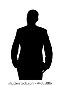 Annoyed Man Silhouette isolated on a white background.