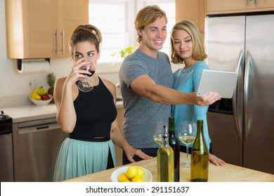 Annoyed person can't tolerate couples public affection and bored by their constant selfie taking