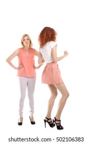 Annoying attractive woman dancing -  whole figure-  studio shot - isolated white - copy space