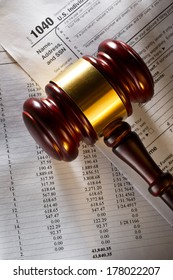 Annual budget, tax form and gavel