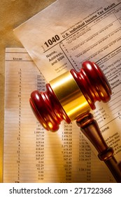 Annual budget, tax form and judge's gavel