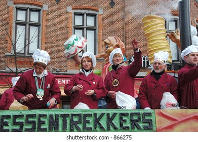 The annual carnival parade for youngsters and adults in belgium.  This is a very colorful parade with lots of fun. The cooking team.