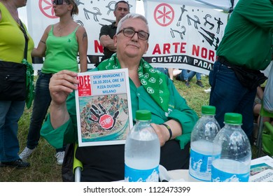The annual gathering of Italian right winged and anti-immigration party Lega Nord (Northern League).In photo: Racist euro-deputee Mario BorghezioPontida (I) 2015/Jun/21