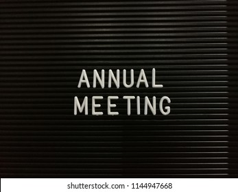 Annual meeting, written on letterboard