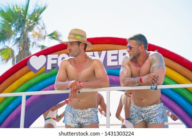 The annual parade LGBT. Gay Pride parade. Parade of tolerance. Rainbow flags at Gay pride parade. 14 June 2019. Tel Aviv. Israel.
