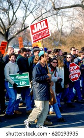 Annual Right To Life March passes in front of the US Supreme Court building Washington DC., January 22, 1996.