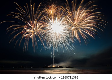Annual summer fireworks event at Scheveningen beach in Den Haag on 11th August, The Hague, Netherlands, Europe, Fireworks by Austria