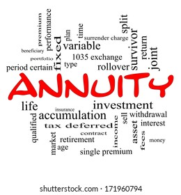 Annuity Word Cloud Concept in red caps with great terms such as investment, rollover, income and more.