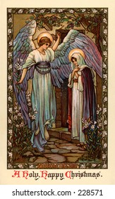 The Annunciation - Angel Gabriel appearing to Mary - a 1910 vintage Christmas greeting illustration