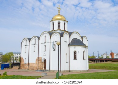 Annunciation Church close up in the cloudy May afternoon. Vitebsk, Belarus