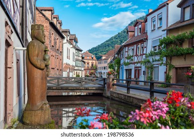 ANNWEILER, GERMANY - JUNE 14, 2014: The picturesque village Annweiler in Germany with its old houses built in half-timber style.