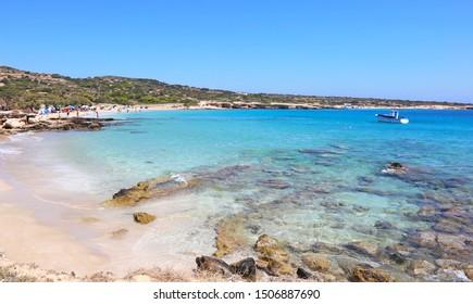 ANO KOUFONISI GREECE, AUGUST 26 2019: scenery of Italida beach at Ano Koufonisi island Greece. Editorial use.