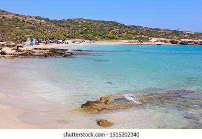 ANO KOUFONISI GREECE, AUGUST 26 2019: landscape of Italida beach at Ano Koufonisi island Greece. Editorial use.