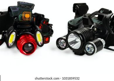 anodized aluminium waterproof tactical flashlight headlamp on white background