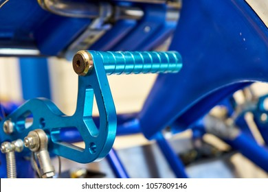 Anodized Blue Steel Brake Pedal On A Competition Go Kart