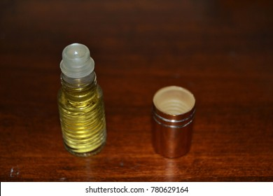 Anointing oil on table.