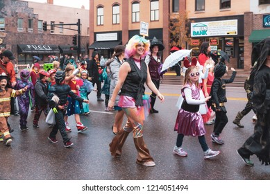 Anoka, Minnesota / USA - October 26, 2018:   Big Parade of Little People. Anoka Halloween Capital of the world