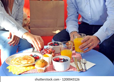 Anonimous delivery food service at home ,  couple order food at home, breakfast and comfortable life