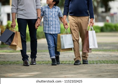 Anonymous boy holding hands of father and grandfather and waking along path after shopping on sunny day