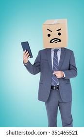 Anonymous businessman against blue vignette background