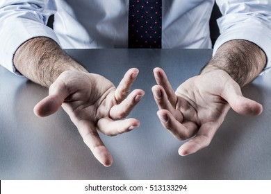 anonymous businessman, salesman or politician hands communicating and discussing with openness with palms and fingers opened, explaining or bargaining at a company