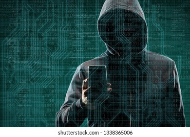 Anonymous computer hacker with a smartphone over abstract digital background. Obscured dark face in mask and hood. Data thief, internet attack, darknet fraud, dangerous viruses and cyber security.