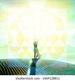 Anonymous female figure in a sand dune landscape illuminated by a bright sun drenched sky with a mandala overly. Art photo illustration.