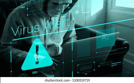 Anonymous hacker committing a computer crime