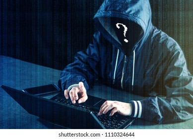 Anonymous hacker programmer uses a laptop to hack the system. Stealing personal data. Creation and infection of malicious virus. The concept of cyber crime and hacking electronic devices