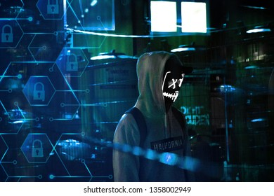 Anonymous hacker in server room with laptop and security icons