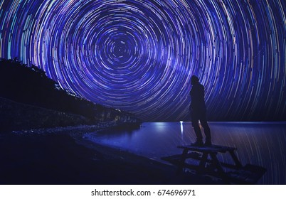 anonymous man enlight the trail of star which shows us to rotation of world