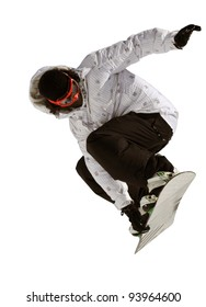 Anonymous man jumping on a snowboard dressed in white and black performing a front grab. Isolated against a white background