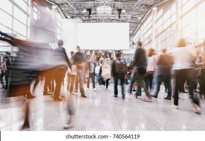 anonymous people at a trade fair