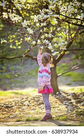 Anonymous shoot of cute small girl at the spring garden. Kid in the magic evening sunlight in pink dress. Active healthy kid have fun outdoor in park under blooming magnolia tree