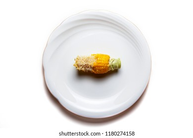 Anorexia nervosa: A half-eaten sweet corn on plate implies anorexia and also may imply food waste problem.