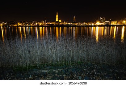 Another magnificent cityscape of Antwerp. The river Scheldt reflect the lights of Antwerp.