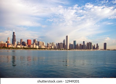Another morning photo of city with Shedd Aquarium on the left side from south side of Lake Shore Drive, Chicago.