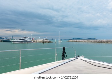 another option for traveling to the sea ,Rant The luxurious catamaran yacht cruise and going to the ocean from at the ocean marina port, Pattaya , Chonburi , Thailand