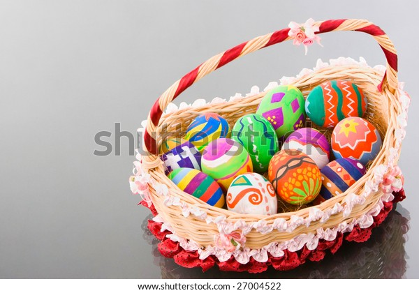 Another shoot angle of the colorful Easter egg made by elementary school's student arranged in a beautiful basket