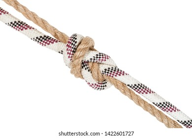 another side of flemish bend joining two ropes isolated on white background