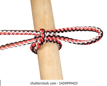 another side of Singly slipped reef knot tied on synthetic rope cut out on white background