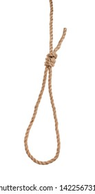 another side of slip noose with gallows knot tied on thick jute rope isolated on white background