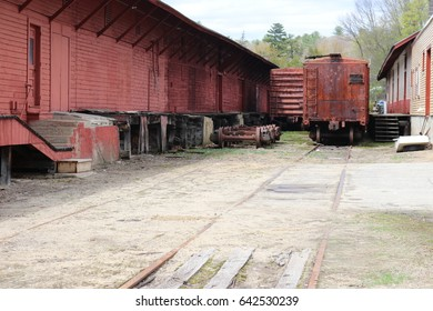 another view of red train yard abandoned