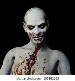 Another Zombie: Undead Zombie glaring at you. Isolated on a black background.