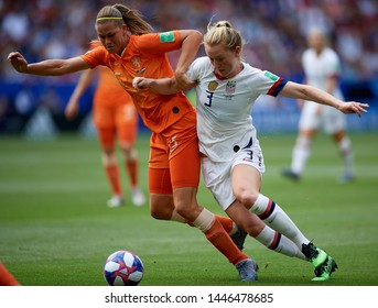 Anouk Dekker and Samantha Mewis during the 2019 FIFA Women's World Cup France Final match between The United State of America and The Netherlands at Stade de Lyon on July 7, 2019 in Lyon, France.