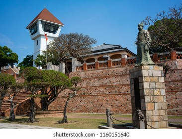 Anping fort or fort Zeelandia view a former Dutch stronghold statue of Koxinga in Tainan Taiwan