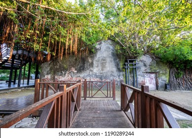 "The Anping Tree House  is a former warehouse in Anping District, Tainan, Taiwan. The ""treehouse"" name refers to the living banyan roots and branches that cover the building."