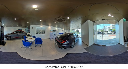 ANSAN, SOUTH KOREA 4 JULY, 2019: full seamless panorama 360 degree angle view in interior of shop. Restaurant, Florist, Billiard room. skybox VR content. equirectangular spherical projection.