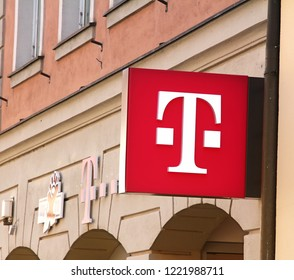 Ansbach, Germany 21.04.2018: T-Mobile is the brand name used by the mobile communications subsidiaries of the German telecommunications company Deutsche Telekom.